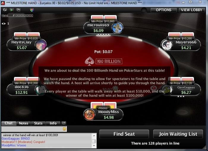 PokerStars Deals 100 Billionth Hand at Micro-Stakes Table; Winner Receives 3,000 101