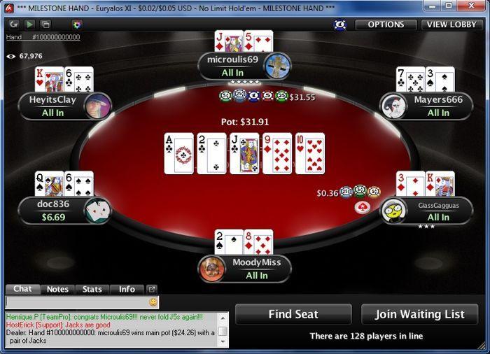 Vakar buvo padalinta 100-milijardinė ranka PokerStars kambaryje. Jos laimėtojui atiteko... 102