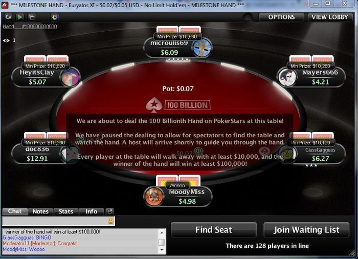 Vakar buvo padalinta 100-milijardinė ranka PokerStars kambaryje. Jos laimėtojui atiteko... 101