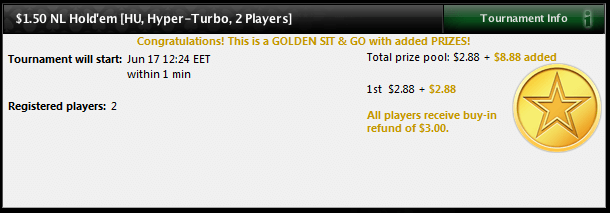 Näide: Golden $1.50 Heads-Up Hyper-Turbo