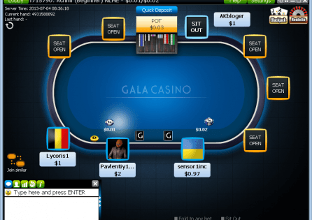 The Gala Poker client.