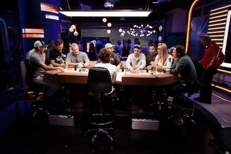 (left to right): Matthew Barnaby, Gary Leeman, Marty McSorley, Daniel Negreanu, online qualifier Derek Doolittle, Jonathan Duhamel, Vanessa Rousso and Darcy Tucker