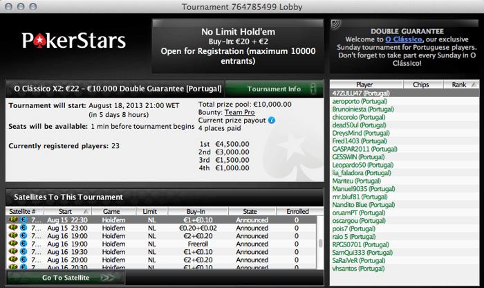 Clássico X2 - €10,000 de Prize Pool Garantido na PokerStars 101