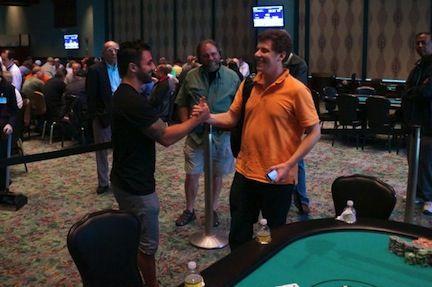 Massey and Engel before heads-up play began. (Photo c/o WSOP.com)