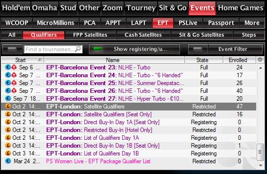 Leiad satelliidid PokerStarsi ooteruumist (vaata pildilt).