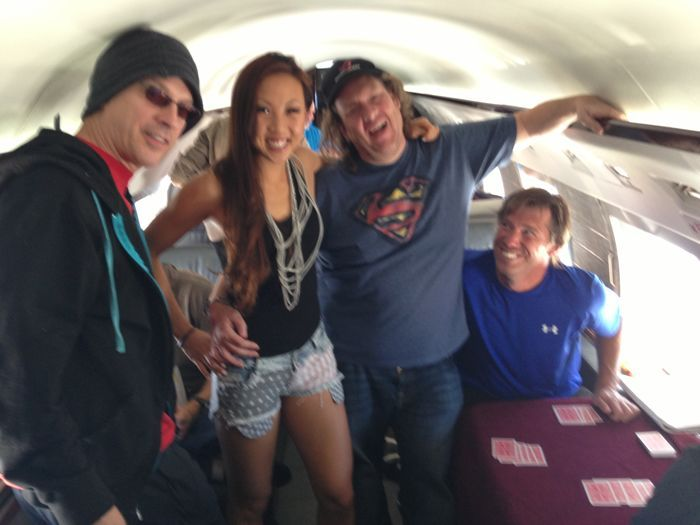Phil Laak, Kristy, Gavin Smith and Layne Flack on the private jet