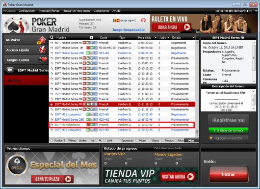 Casino Gran Madrid te lleva gratis a las ESPT Madrid Series 101