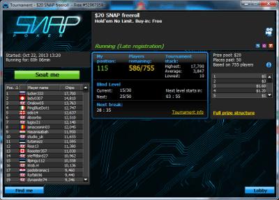 The Snap Poker tournament lobby