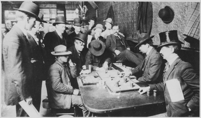 "Faro at the Orient Saloon, Bisbee, Arizona, ca. 1900; note the ""case keeper"" sitting on the left (photo courtesy U.S. National Archives and Records Administration)"