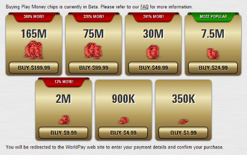 PokerStars Permite que Jogadores Comprem Fichas de Play Money 101