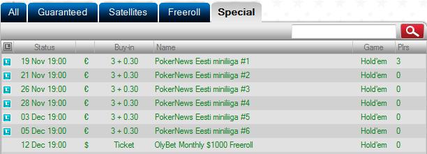 Täna algab PokerNews Eesti miniliiga OlyBet pokkeritoas 101