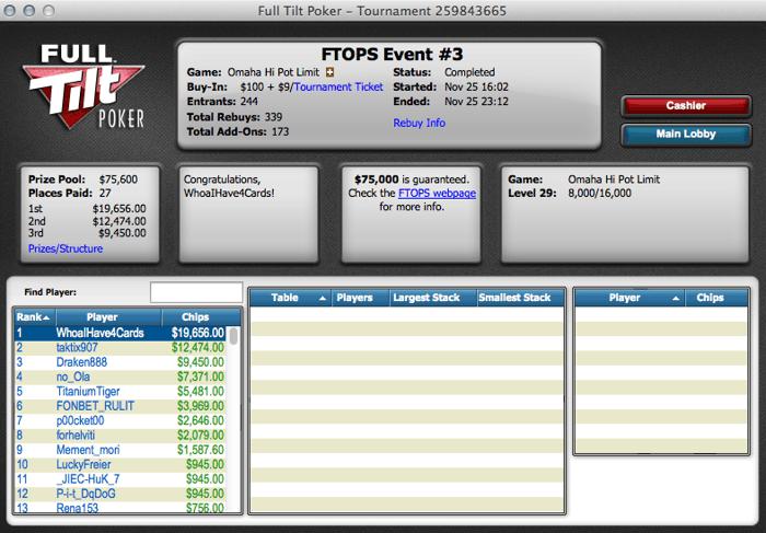"FTOPS XXIV: Carlos ""Tacuara7"" Branco Foi 6º no Evento #5 (,272.50) 102"