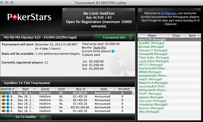 Este Domingo HO HO HO CLÁSSICO com Oferta de Ticket de €5,5 na PokerStars 101