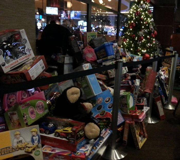 With a donated toy part of the entry fee, the gifts piled up quickly and impressively at the 11th Annual Toy Drive Tournament at the Talking Stick Resort in Scottsdale, Arizona