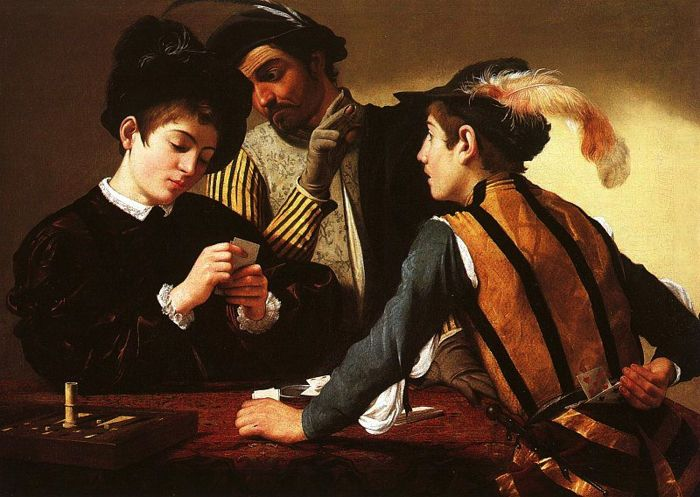 "This late 16th-century painting by Caravaggio was later titled ""The Cardsharps."" Note the player in the middle looking at the woman's hand while the player in the foreground holds a couple of cards behind his back. A rough game!"