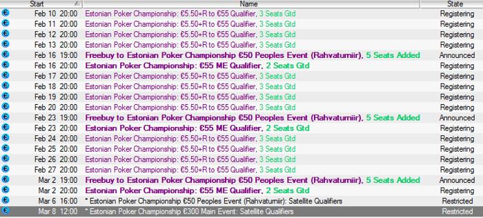 Eesti meistrivõistluste kvalifikatsioonid PokerStarsis toimuvad 10. veebruar kuni 2. märts 101
