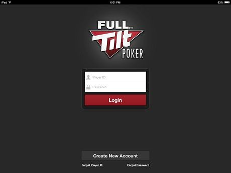 Full Tilt Rush Poker log-in screen.
