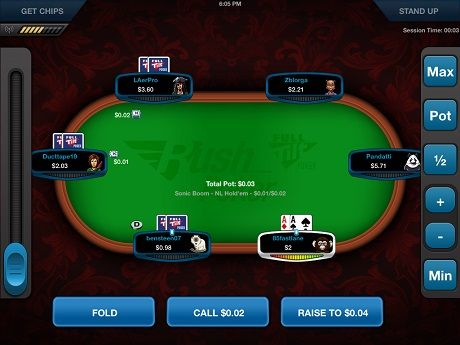 Full Tilt Rush Poker buttons and betting setup.