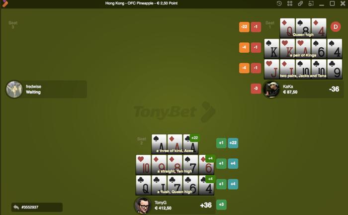 Ässade kolmik üleval - iga mängija unistus! Mõistagi tuli Tony G-l maksimaalse tugevusega käe saamisel nimel ka omajagu riskida...