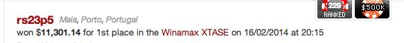 "Rui ""sousinhamos"" Sousa Venceu XTASE na Winamax (€8,248) & Mais 101"