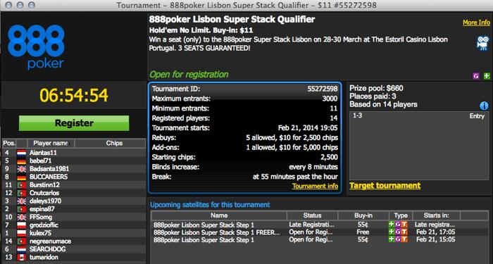 Hoje às 19:05 - Satélite 888poker para o Portugal Super Stack 101