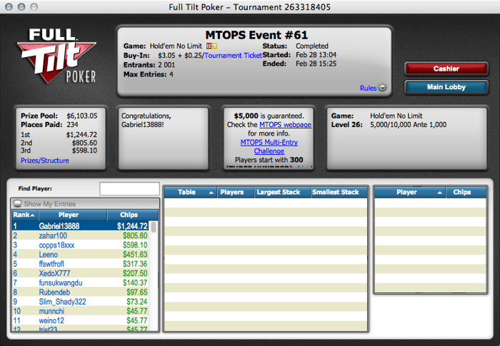 "Micro Turbo Online Poker Series: ""tiagove001"" Foi 3º no Evento #62 101"