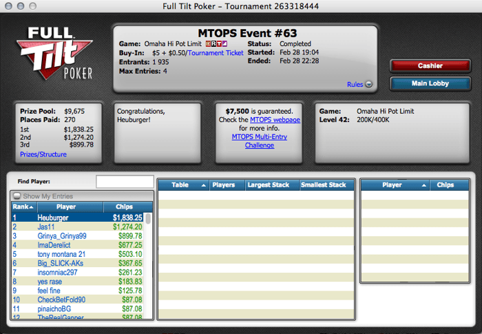 "Micro Turbo Online Poker Series: ""tiagove001"" Foi 3º no Evento #62 103"