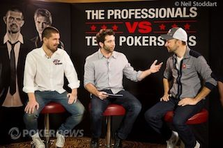 Joe Stapleton interviewing Gus Hansen and Daniel Negreanu.