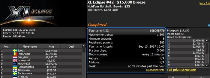 888poker XL Eclipse Day 4: 'RendOss' Wins the ,000 8-Max 101