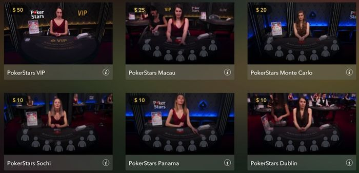 List of Live Dealer Blackjack Games at PokerStars