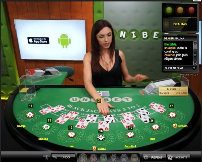 Live dealer blackjack Games at Unibet Casino