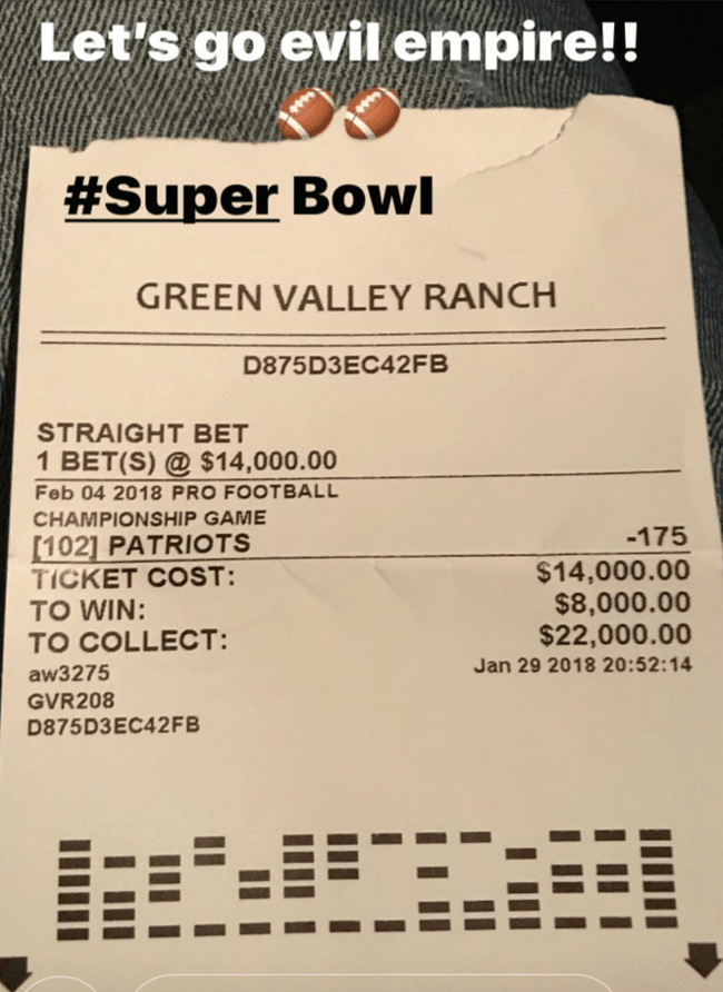 Super Bowl wager