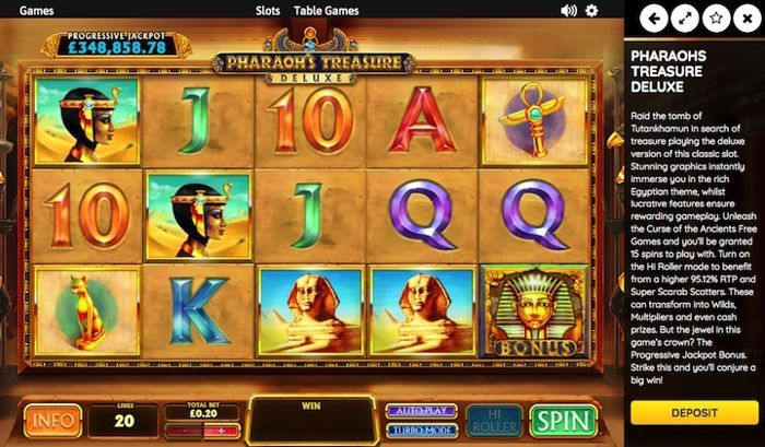 Pharaoh's Treasure online casino games for real money