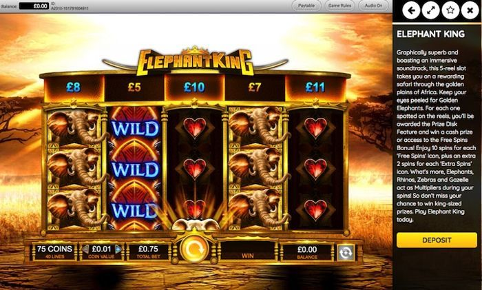 Elephant King play casino games for real money
