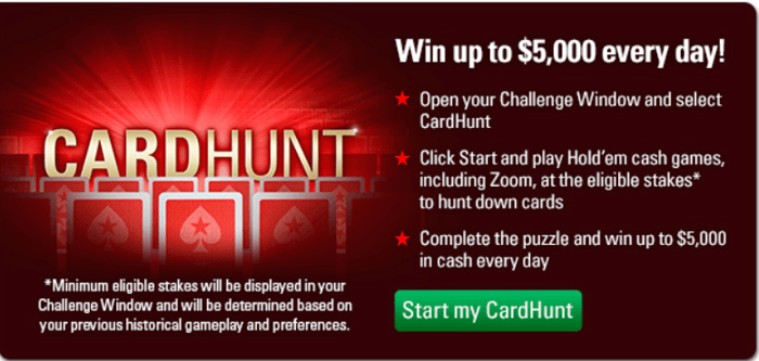 Win Up to ,000 Every Day in the CardHunt at PokerStars 101