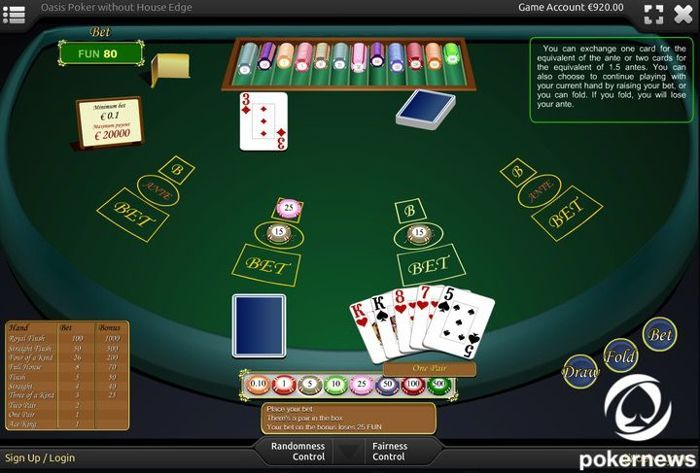 Oasis Poker Casino PokerGames to Play for free and with zero house edge