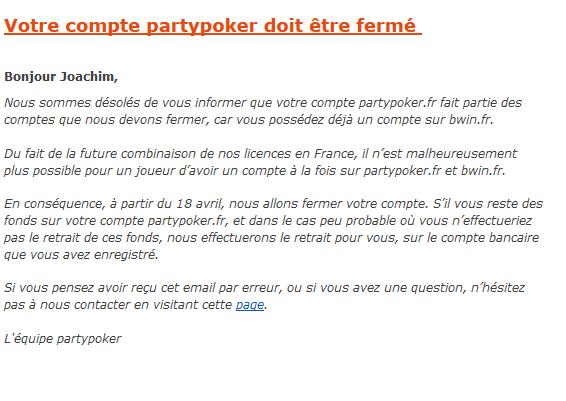 Reestruturação na partypoker em França para a Liquidez Partilhada 101