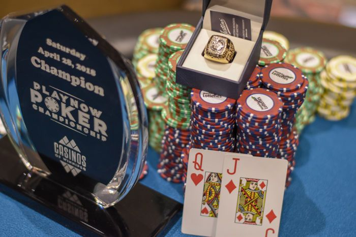 2018 Spring PlayNow Poker Championship trophy, ring, chips, and winning cards