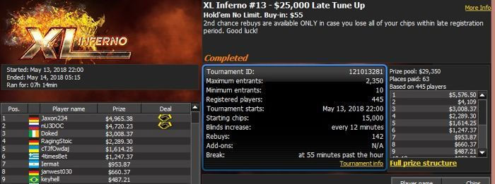"888poker XL Inferno: Switzerland's ""Justaduck"" Wins the Tune Up 101"