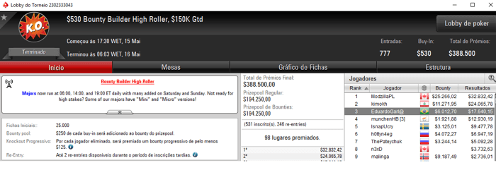 Forras Online: Eduardo Garla Bronze no Bounty Builder High Roller 101