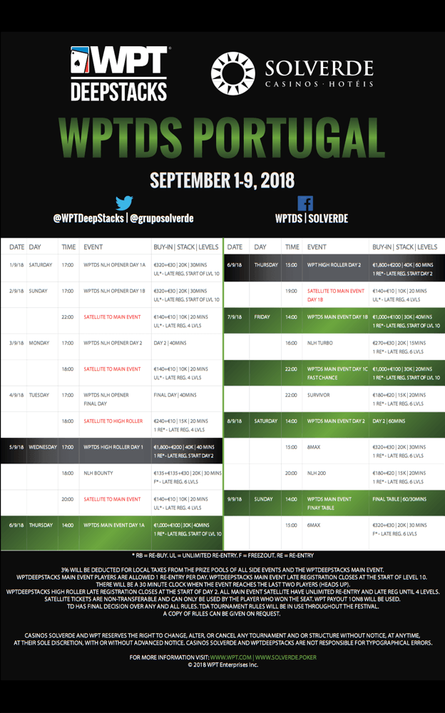 Calendário do World Poker Tour DeepStacks Vilamoura 2018 101