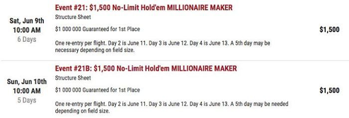 Millionaire Maker: $1,000 buy-in (June 9th, 10th)