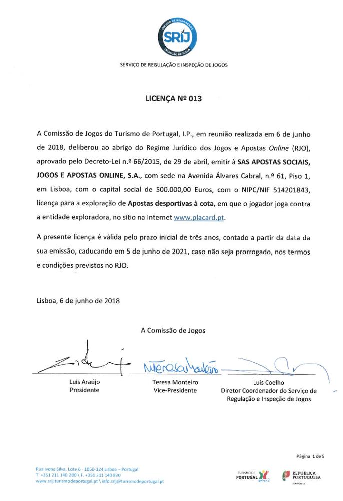 Placard Recebe 13ª Licença de Jogo em Portugal 101