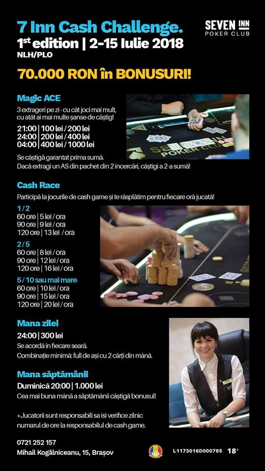 """7 Inn Cash Challenge"", 2-15 iulie la Brasov: maraton de cash cu 70.000 Ron in premii 101"