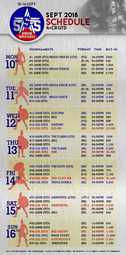 Spartan Super Series September Schedule