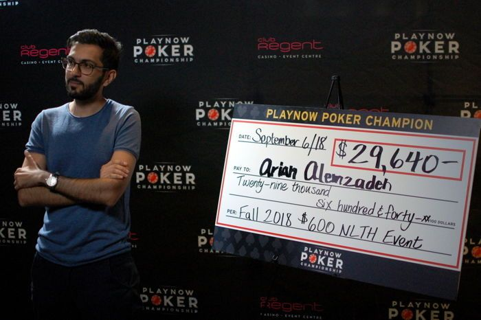 Arian Alemzadeh with the winner's check after $600 event