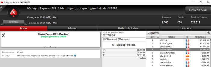 Saturday Night Fever para PedroHM e Peixinho2016 na PokerStars.FRESPT 102