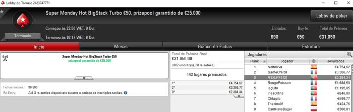 pinoquio7, RSXLP43 e KKmatamoscas com Super Monday na PokerStars.FRESPT 103