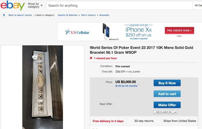 wsop ebay bracelet