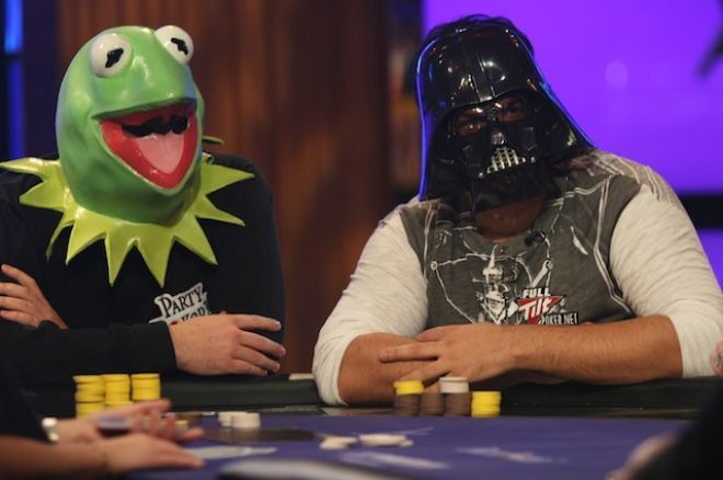 Kermit the Frog (Tony G) and Darthvader (Roland de Wolfe) shwoed up to PartyPoker Premier League IV, Heat 6 in 2010